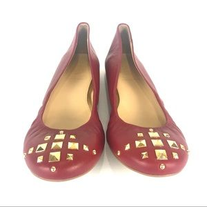 NWOT J. Crew red leather studded flats 8.5